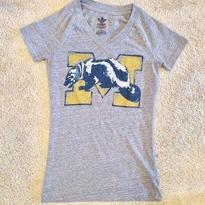 Adidas University of Michigan XS Gray T-shirt